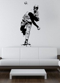 Big vinyl wall decal--Baseball pitcher, 48 inch tall sticker
