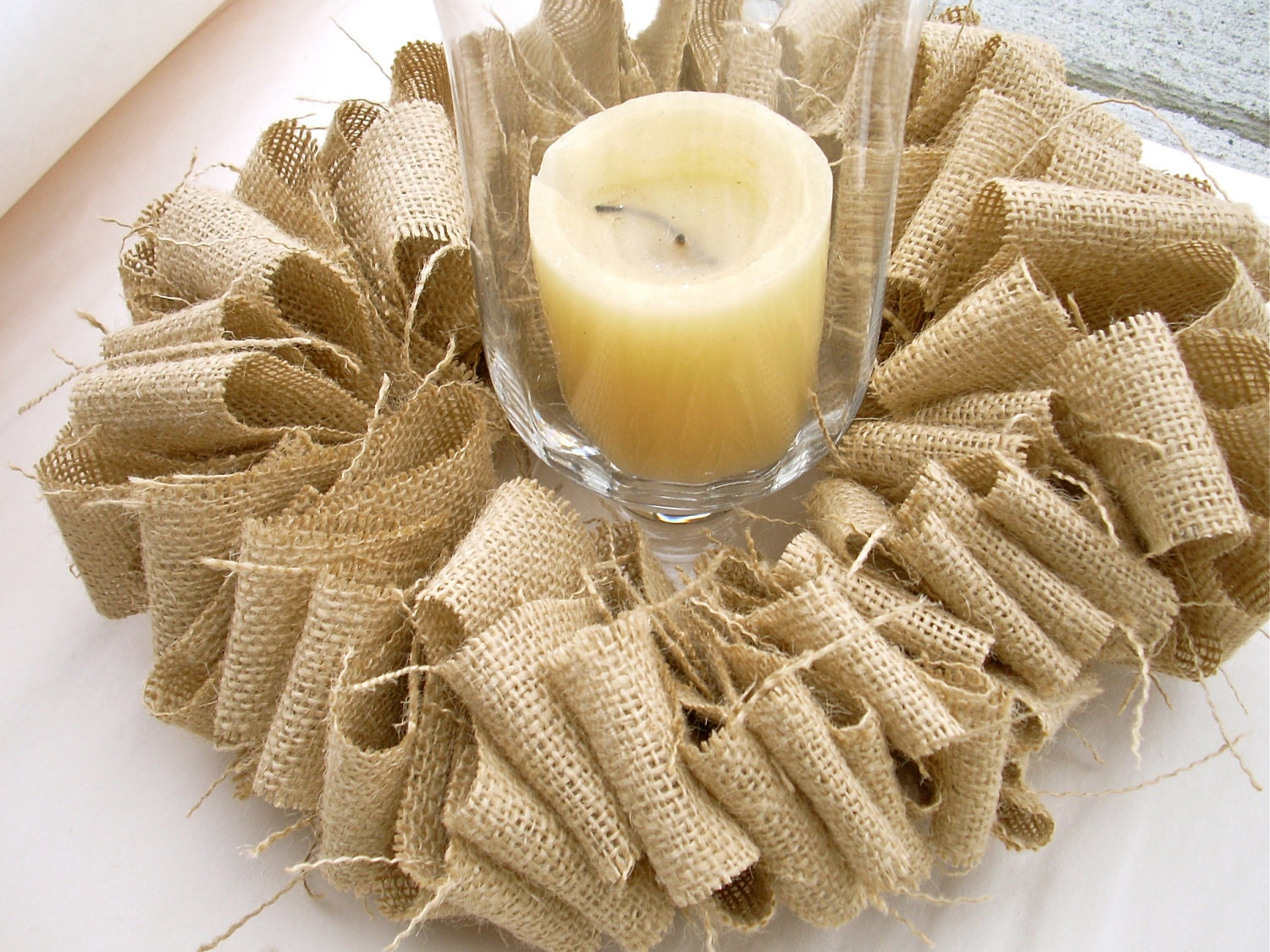 Rustic Burlap Centerpiece Candle Wreath By Seekimothy On Etsy