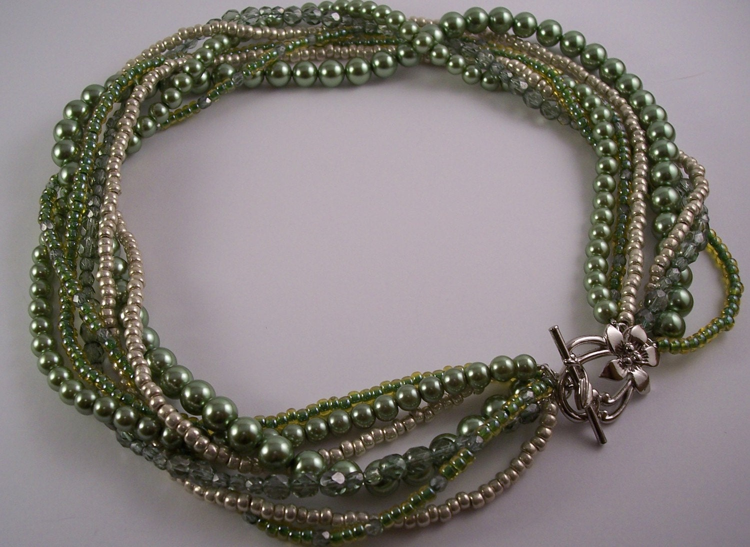 Green Pearl and Glass Twisted MultiStrand Necklace