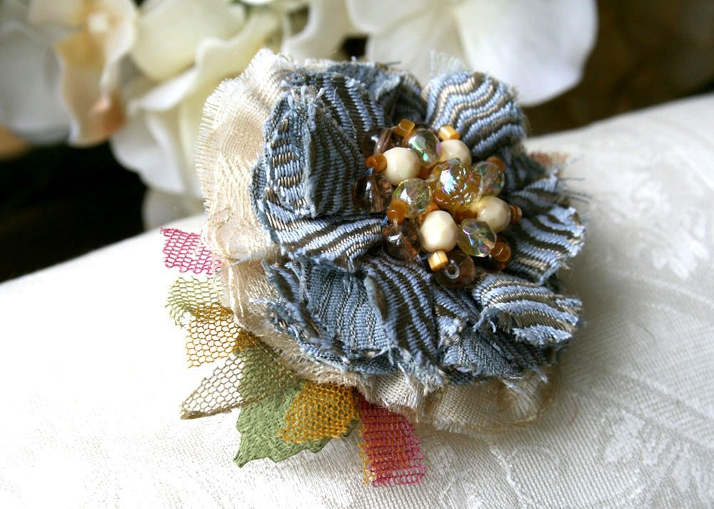 French Blue and Amber Yellow Hair Barrette Flower Fascinator Clip