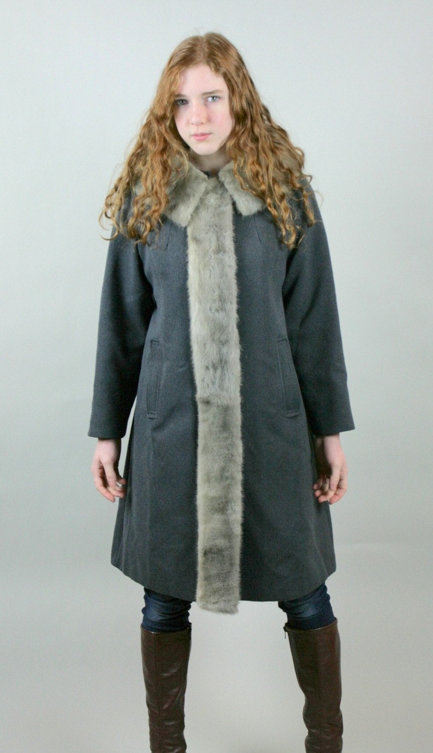 Vintage Swing Coat Australian Worsted Wool Mink Fur Collar Front Trim Slate Gray AMAZING - vetabartholomew