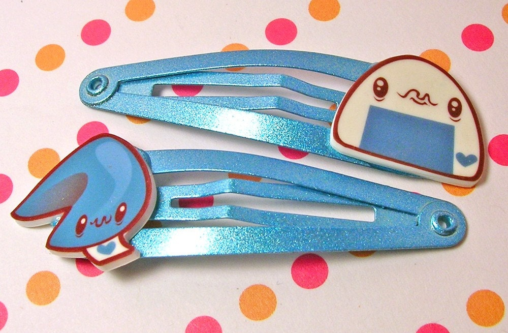 Blue Onigiri and Fortune Cookie Hair Clips