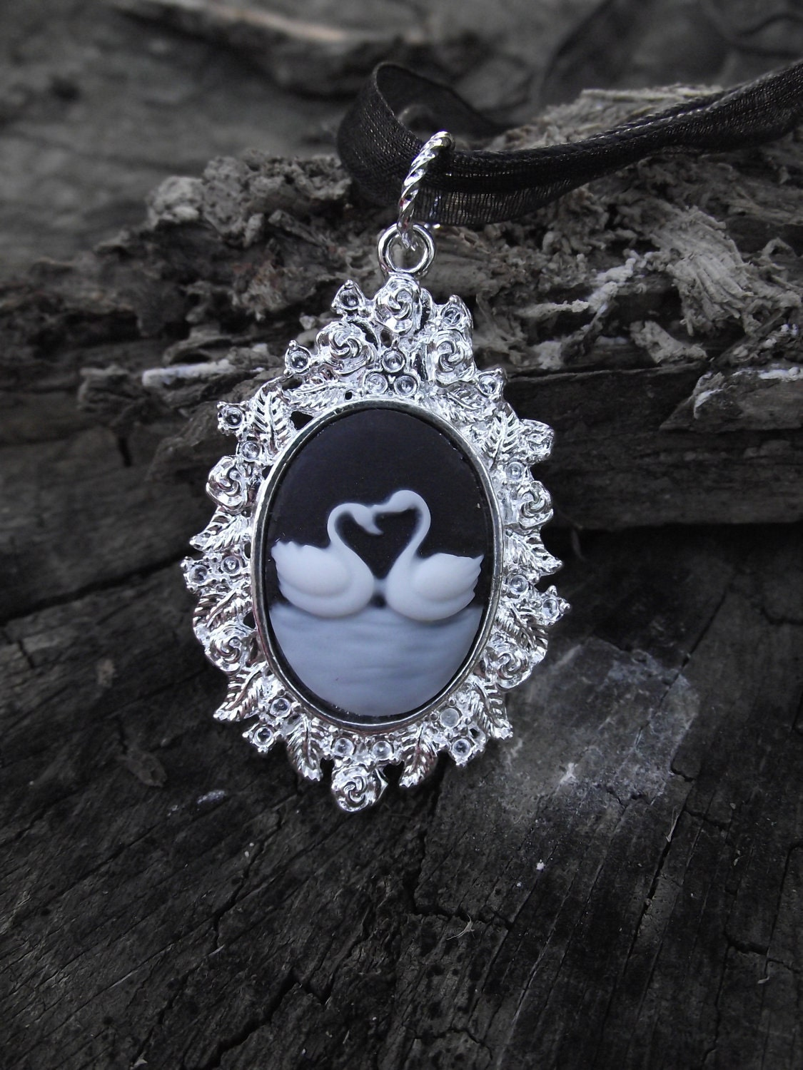 Swan Love - Black and White Kissing Swan Cameo Necklace