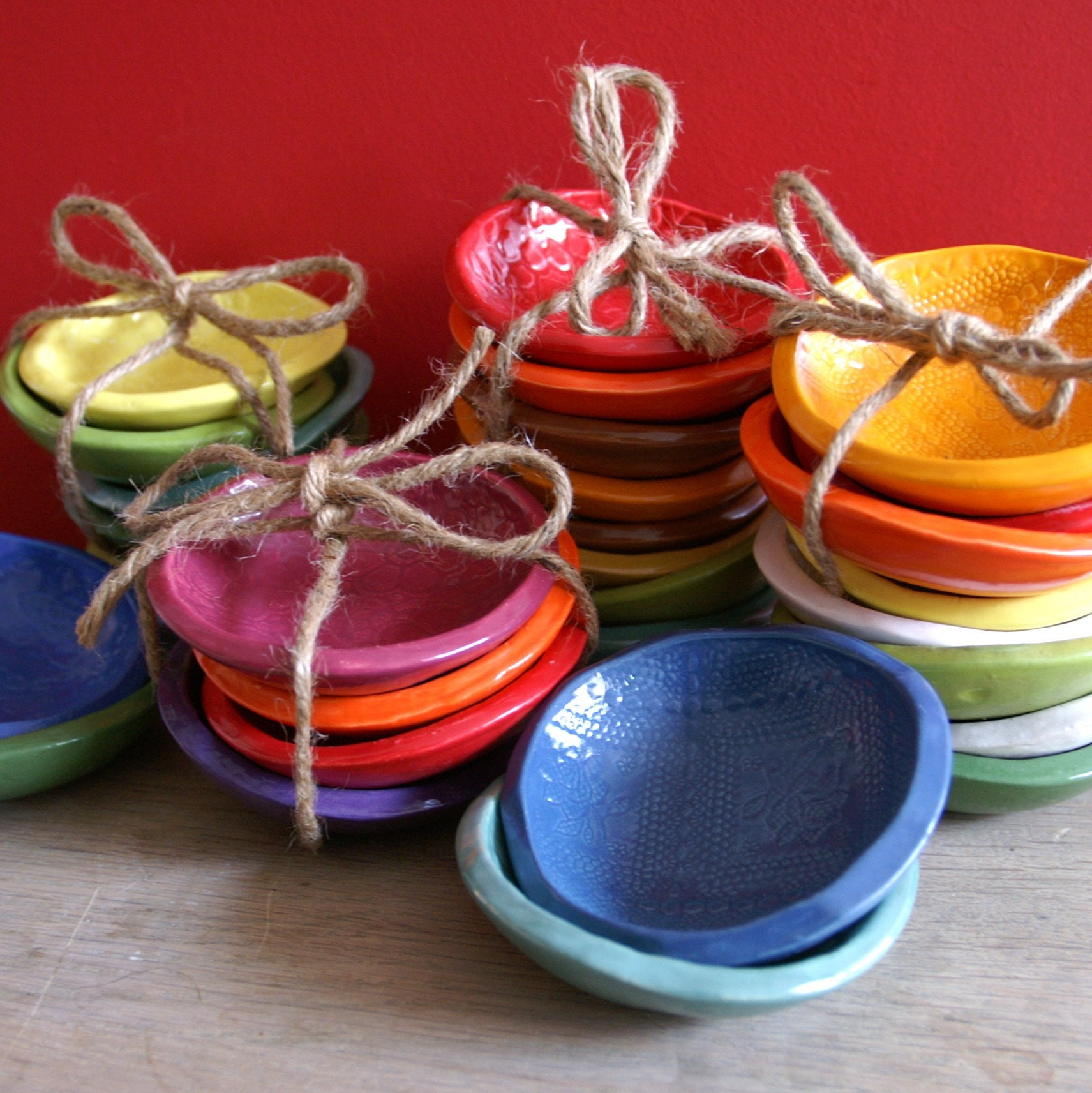 4 Cracker Bowls - small bowls in Turquoise - Yellow - Lime and Green - Wobbly Plates Series