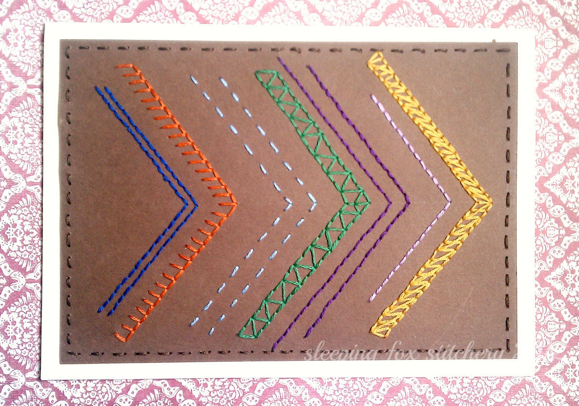 Hand Embroidered Card Chevron Arrows Thank You Any Occasion Multicolored Bright Primary Colors - sleepingfoxstitchery