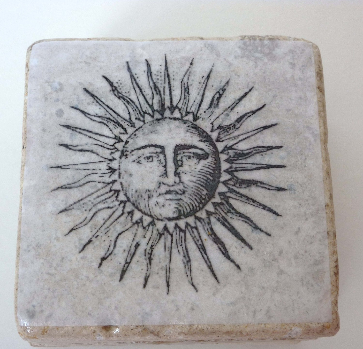 Sun Moon Stars Tile Coasters
