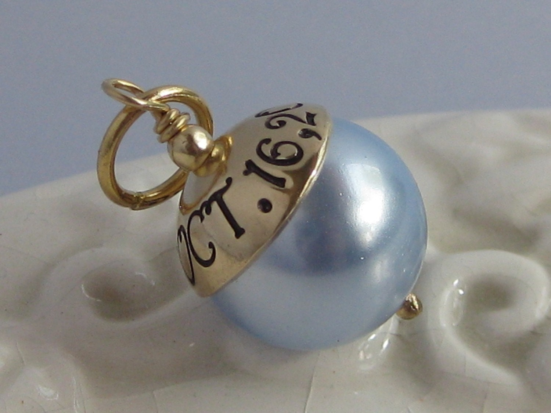 Blue Bridal Bouquet Charm : Something blue hand stamped custom wedding bouquet charm