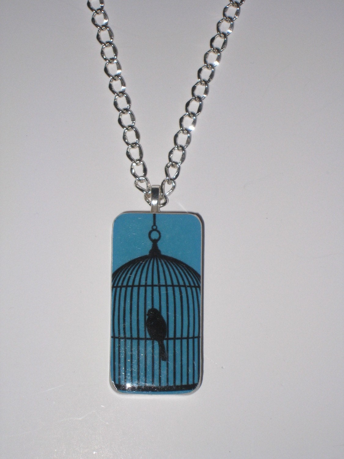 "Domino Pendant Necklace with 24"" silver chain (Bird Cage) altered art"