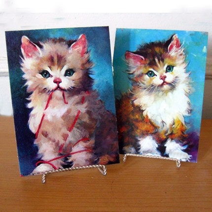 Set of 2 Vintage Lithographs - Pretty Kittens L6