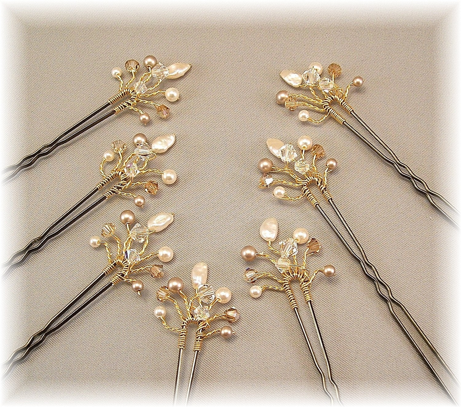 Wedding Hair Accessories Bridal Hair Pins Golden by Handwired from etsy.com
