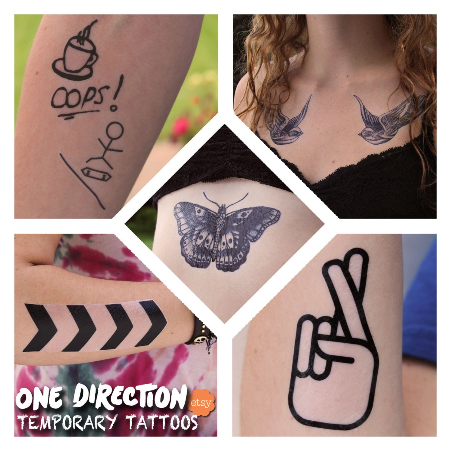 One Direction Inspired Temporary Tattoos by FangirlTattoos ...