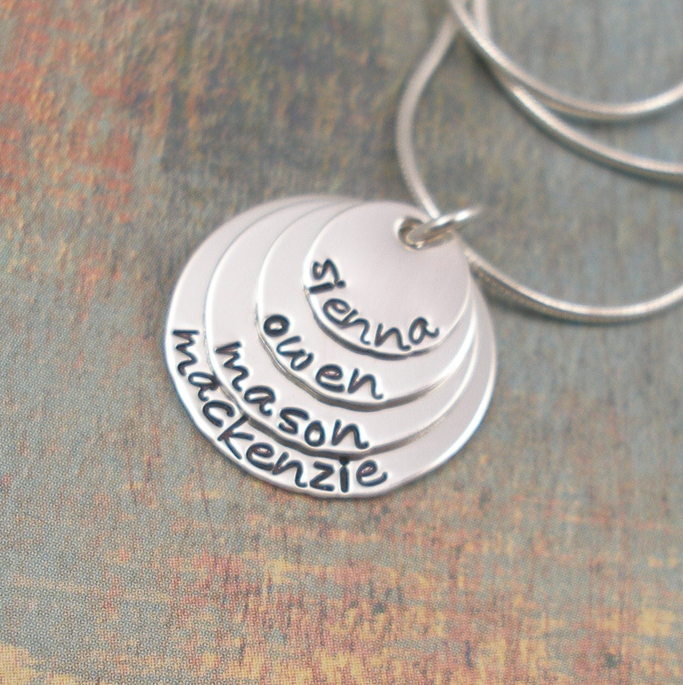 Sterling Silver Hand Stamped Personalized Four Disc Layered Necklace