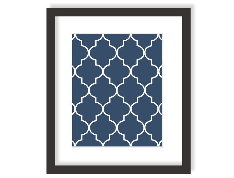 Moroccan Art Print in Navy Blue Modern Wall Decor by twowhiteowls