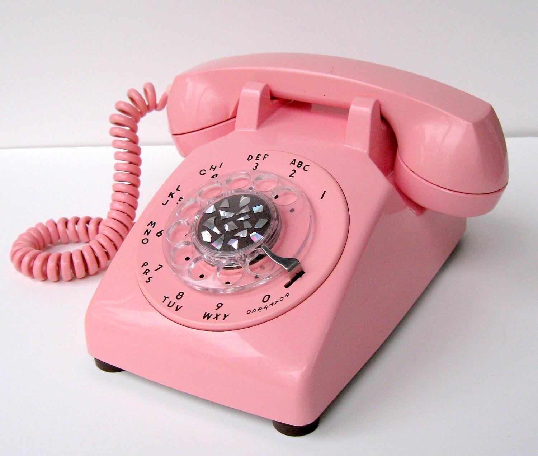 vintage bright pastel pink itt telephone by quatrefleurs on etsy