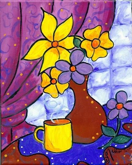 Morning Coffee Still Life Original Acrylic Painting