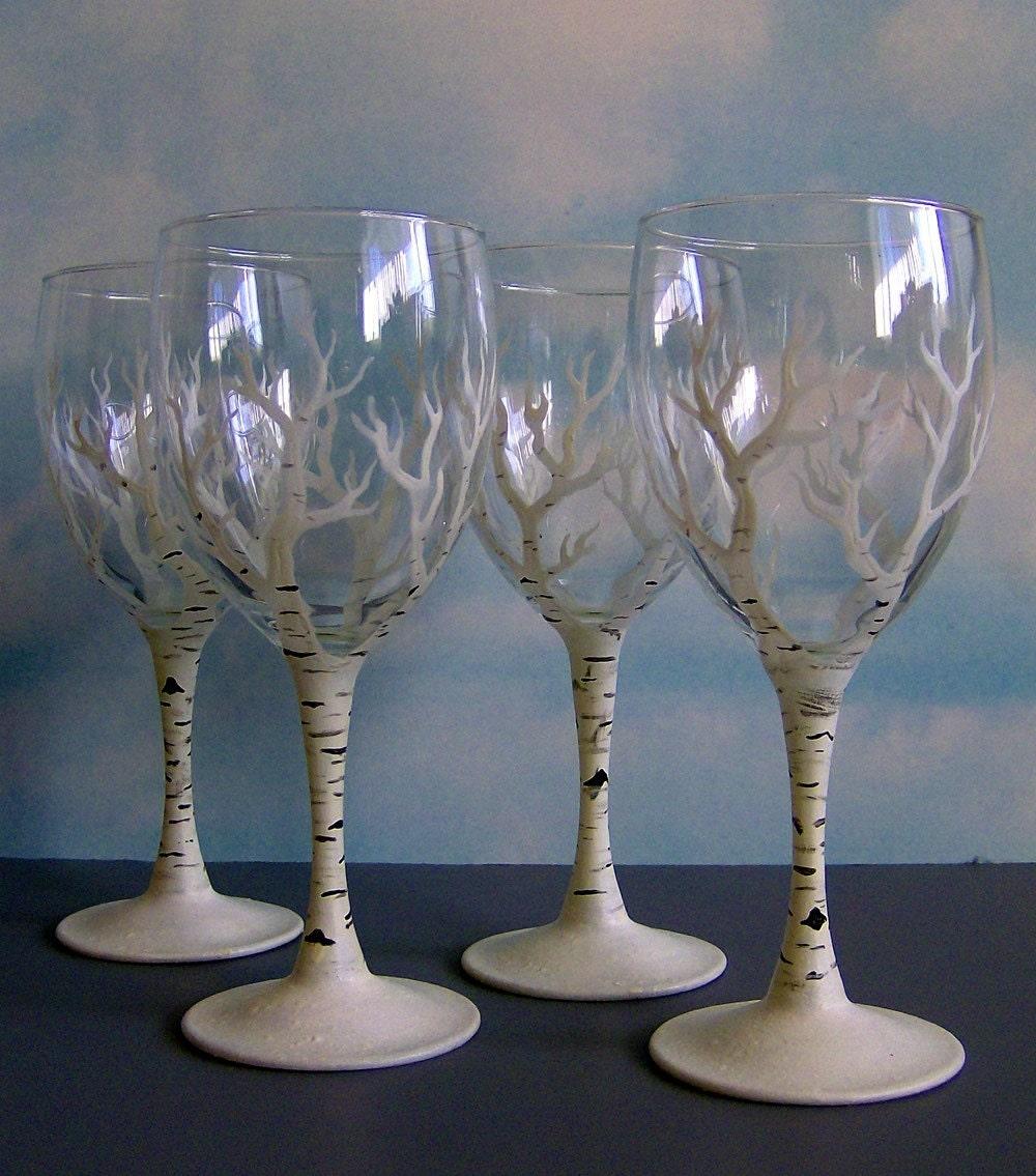 Birch Tree Painted Wine Glass
