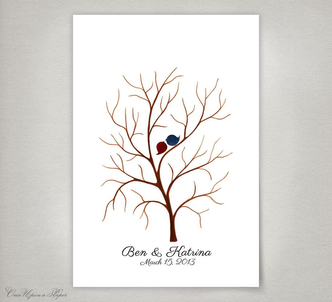 custom thumbprint wedding guest book tree 100 by onceuponapaper