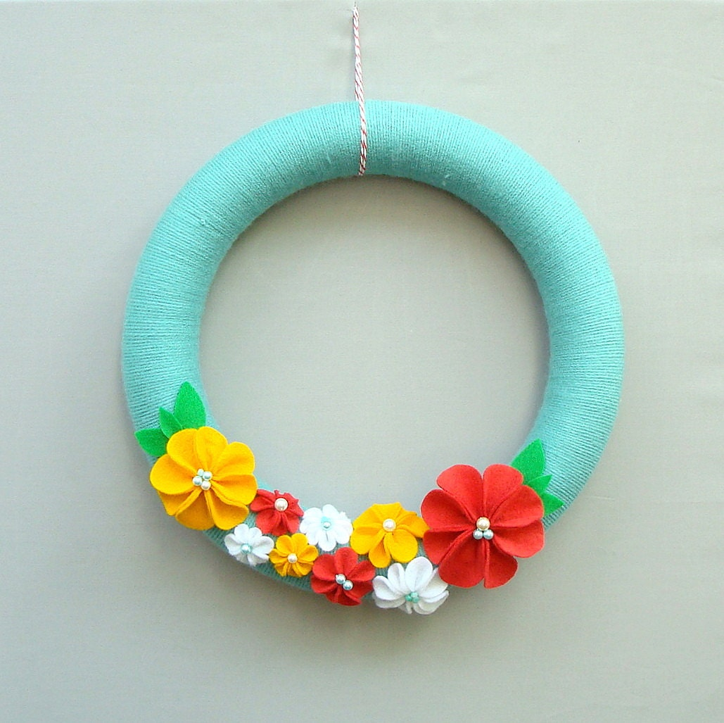 Yarns for Summer wreath and flowers Felt Robins Egg Blue, Coral, Yellow, White Felt Flowers - Love in Spring