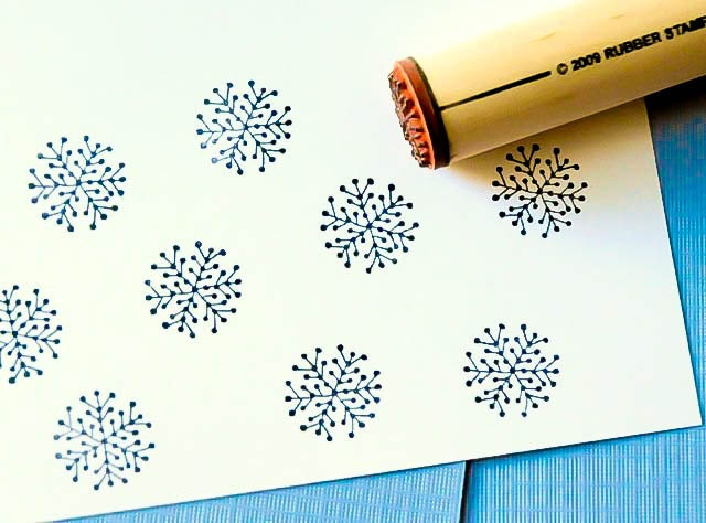 Dot Snowflake Rubber Stamp