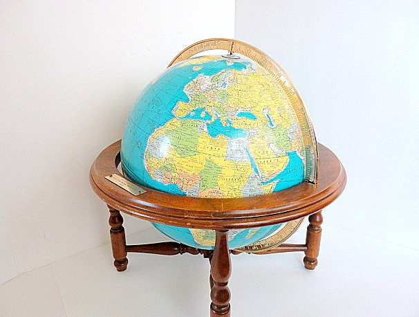 Vintage Globe Rand McNally Wood Table Stand 1960's Aqua Oceans Mad Men Office Decor by metrocottage - metrocottage