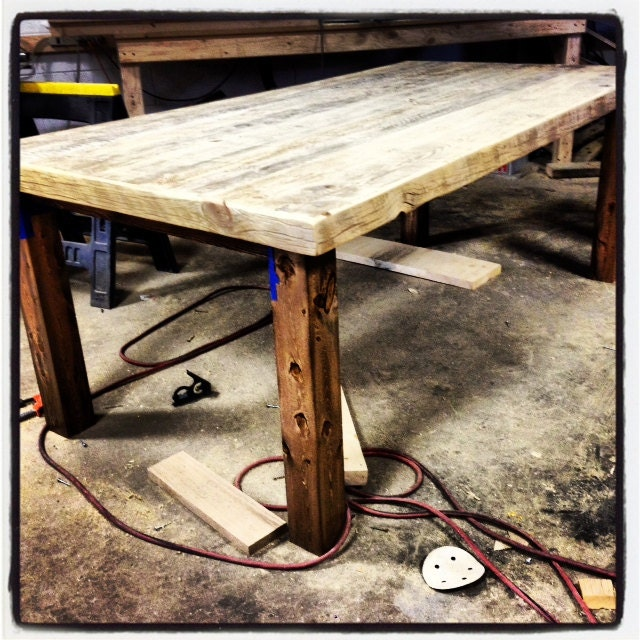 Reclaimed wood dining table with walnut by for 4x4 dining table