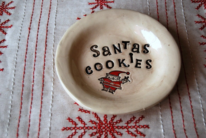christmas decor cookies for santa plate