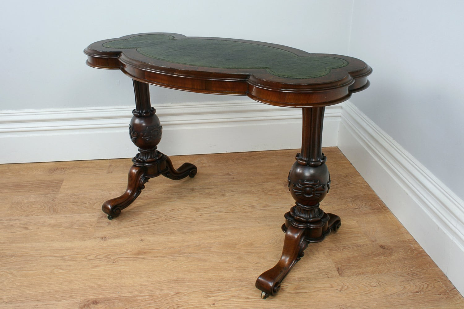 Antique English Victorian Burr Walnut Carved Leather Writing Table (Circa 1860)