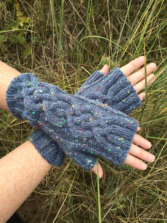 Blue Fingerless MittensMittensMittsFingerless GlovesHandknitted MittensHandknitted GlovesGlovesCable Pattern MittensWrist Warmers