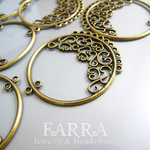 Earring Findings, earring chandelier, 48*43mm brass filigree hoop with 11 hoops, bronze color,  jewelry making supplies, 10 pieces - FARRAgem
