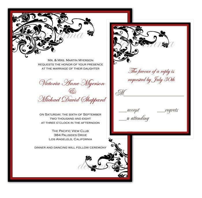 black vines with red border wedding invitation set by dearemma