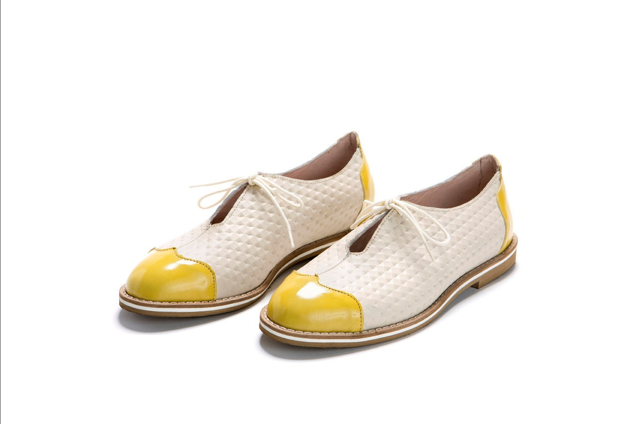 oxford shoes white yellow shoes oxford style by