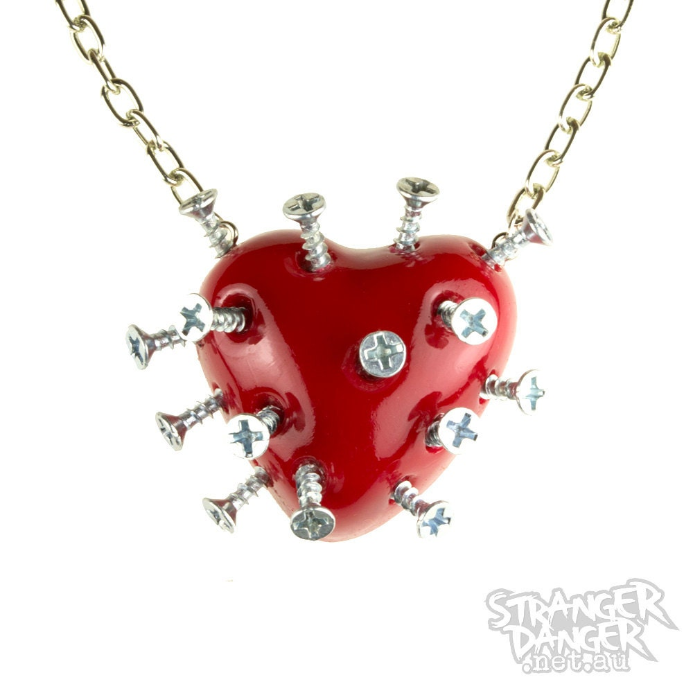 Red Broken Heart Necklace With Screws (goth, jewellery, punk, emo, alternative, industrial, ndie, Rockabilly, Lolita, Cyber)