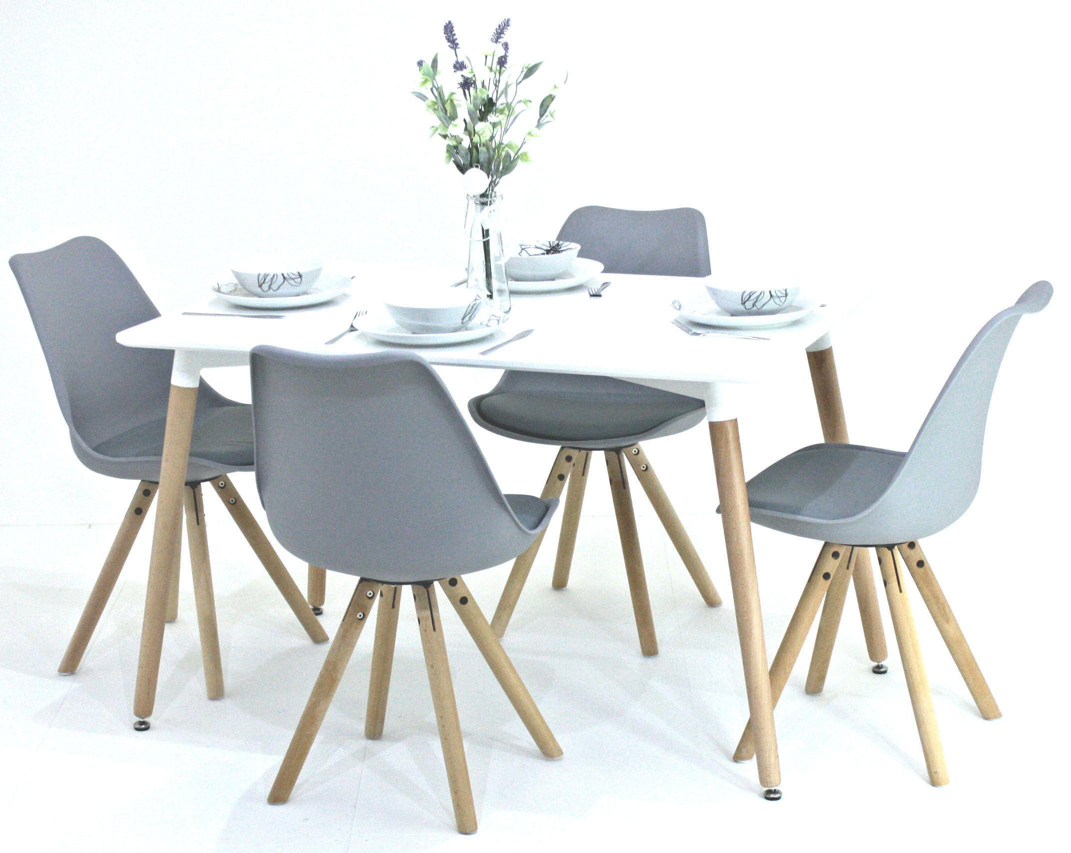 PN Homewares Sophia Dining Table and 4 Chairs Set Retro Modern Chairs Choice of Black or White Table White Black or Grey Chairs