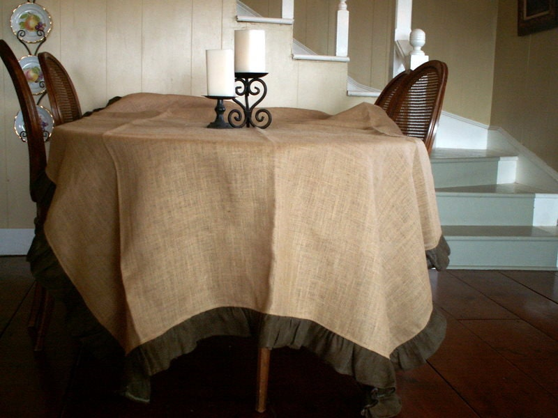 "Large Natural Burlap Tablecloth with Brown Ruffle 108""x66"" - SimplyAsThat"