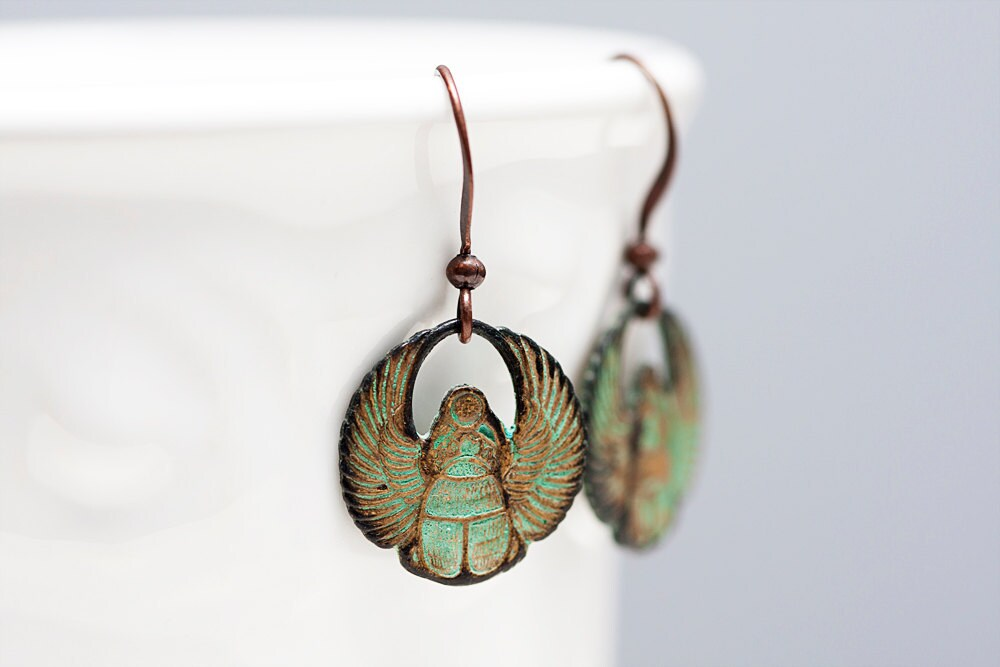 Egyptian Scarab Earrings Patina Scarab Earrings Verdigris Scarab Dangle Egyptian Earrings - E102