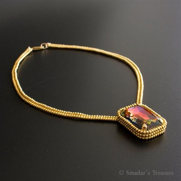Gold Necklace with Large Colorful Crystal Pendant
