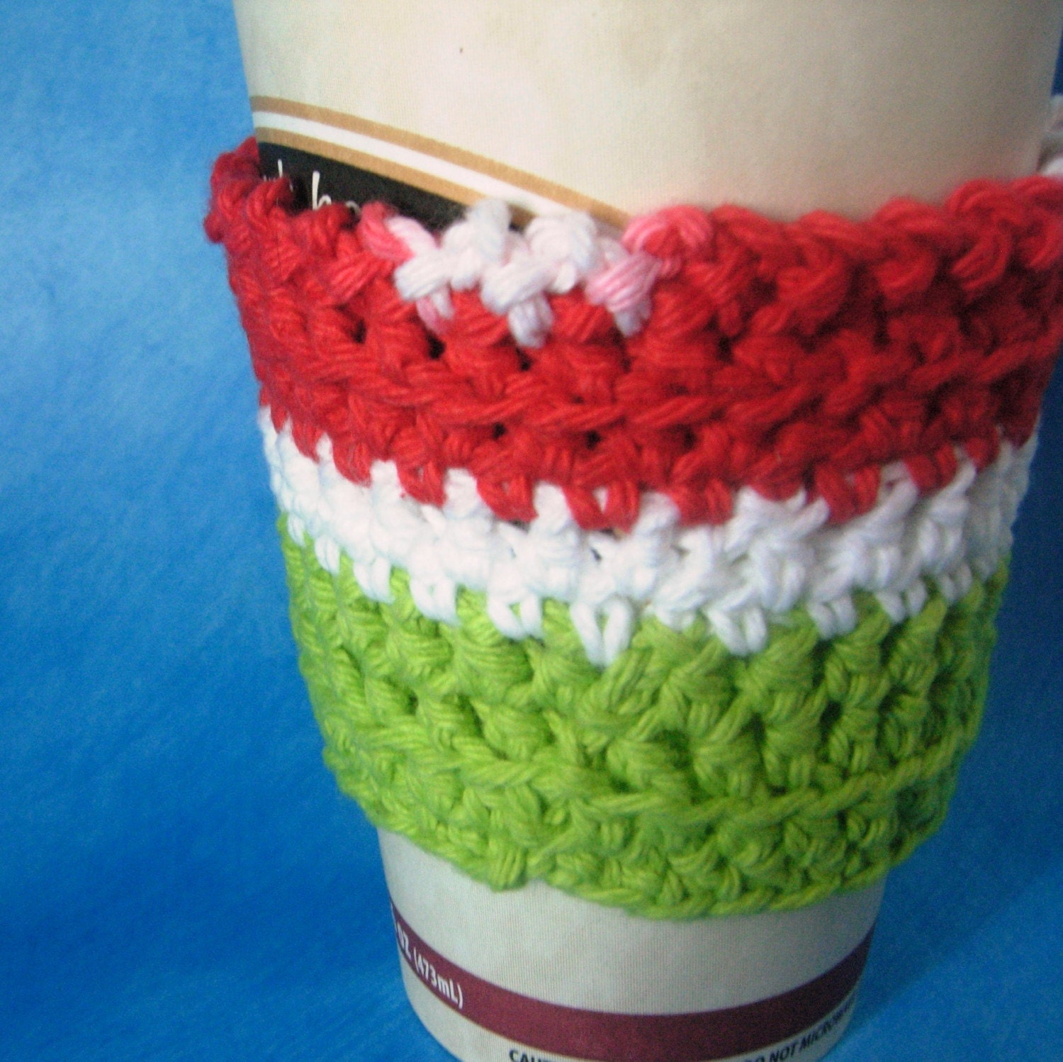 Red, Whte, and Green Coffee Cup Sleeve