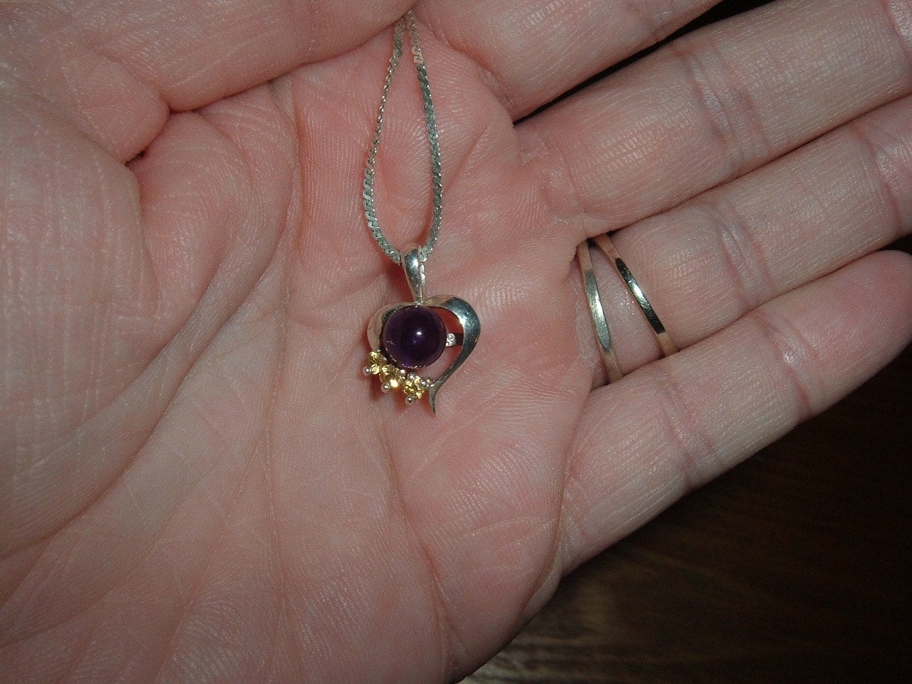 Amethyst And Yellow Sapphire Heart Pendant