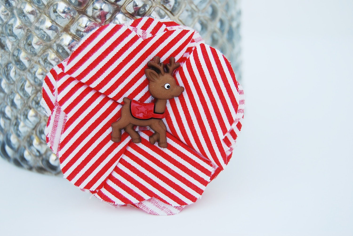 Christmas Reindeer Rudolph Striped Fabric Flower Pin, Clip, Hair Accessory for Girl, Children