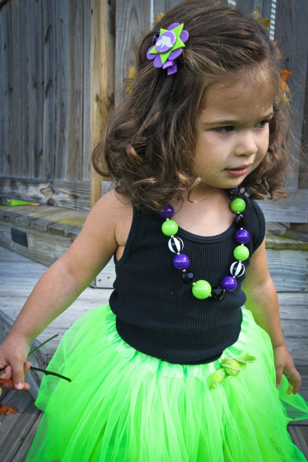 "Black and Purple ""Toil and Trouble"" Halloween Necklace  - LovelyLylaJean"