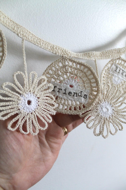 Вязание цветочную гирлянду ручной декор стен Соберите друзей, как цветы, ретро