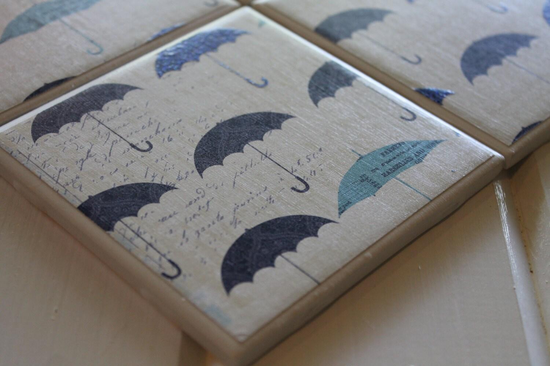 Shabby Chic Rainy Day Umbrellas Four Piece Ceramic Tile Coaster Set - NicolesNicNacs