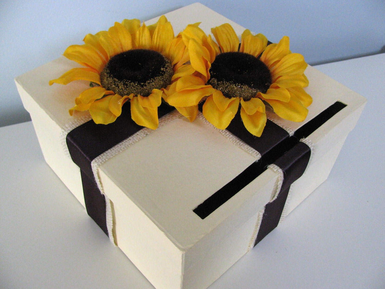 Can Customize Flowers and Colors - Ivory Wedding Card Box-Shown with layered Burlap, Eggplant Ribbon and Large Yellow Sunflowers