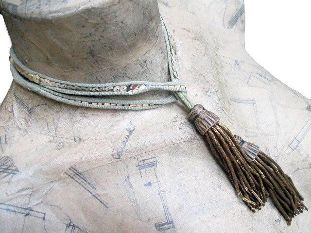 Silence. Casual Bling Stitched Lariat with Bullion Tassels.