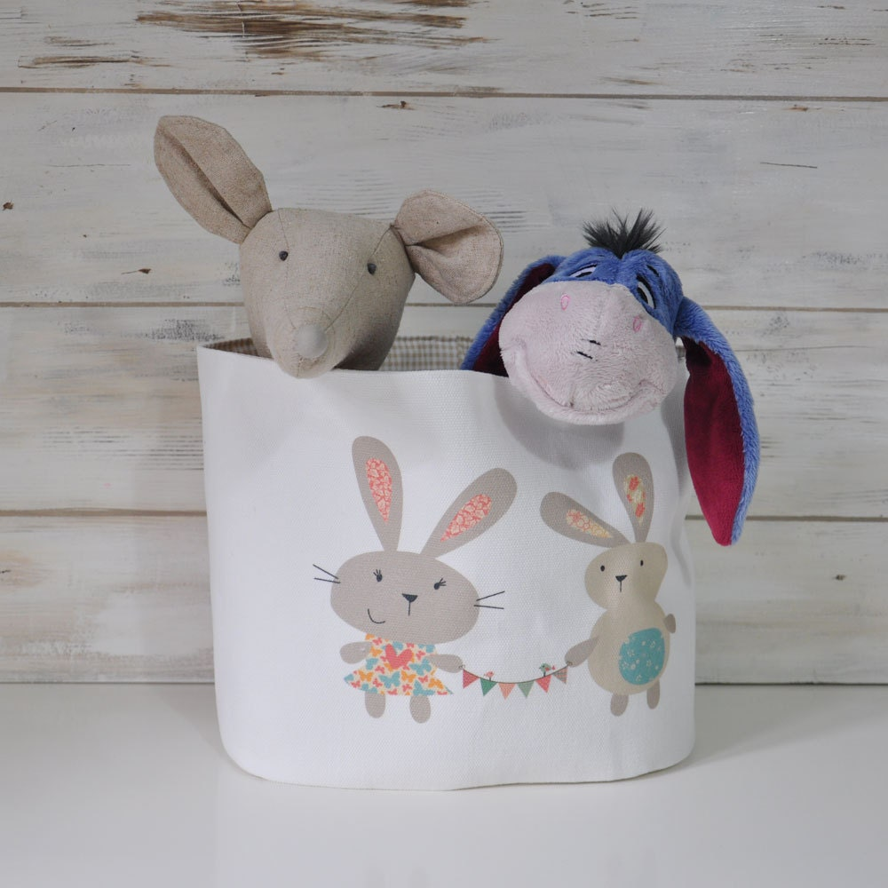 Personalized Fabric Organizer Bin Basket Container Cotton Rabbit Bunny - LoveJoyCreate