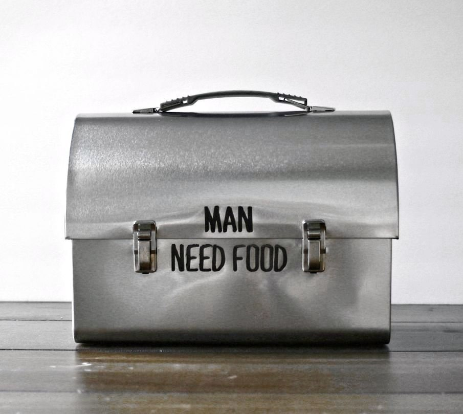 Mens stainless steel metal lunch box personalized w your text man