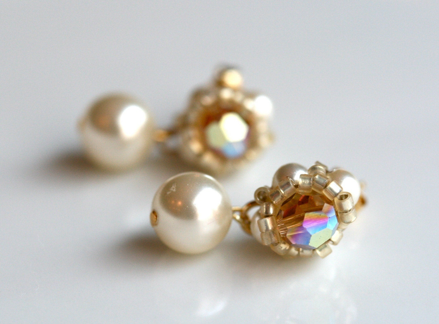 ON SALE Pearl Earrings - Golden Swarovski Crystal and Ivory Pearl