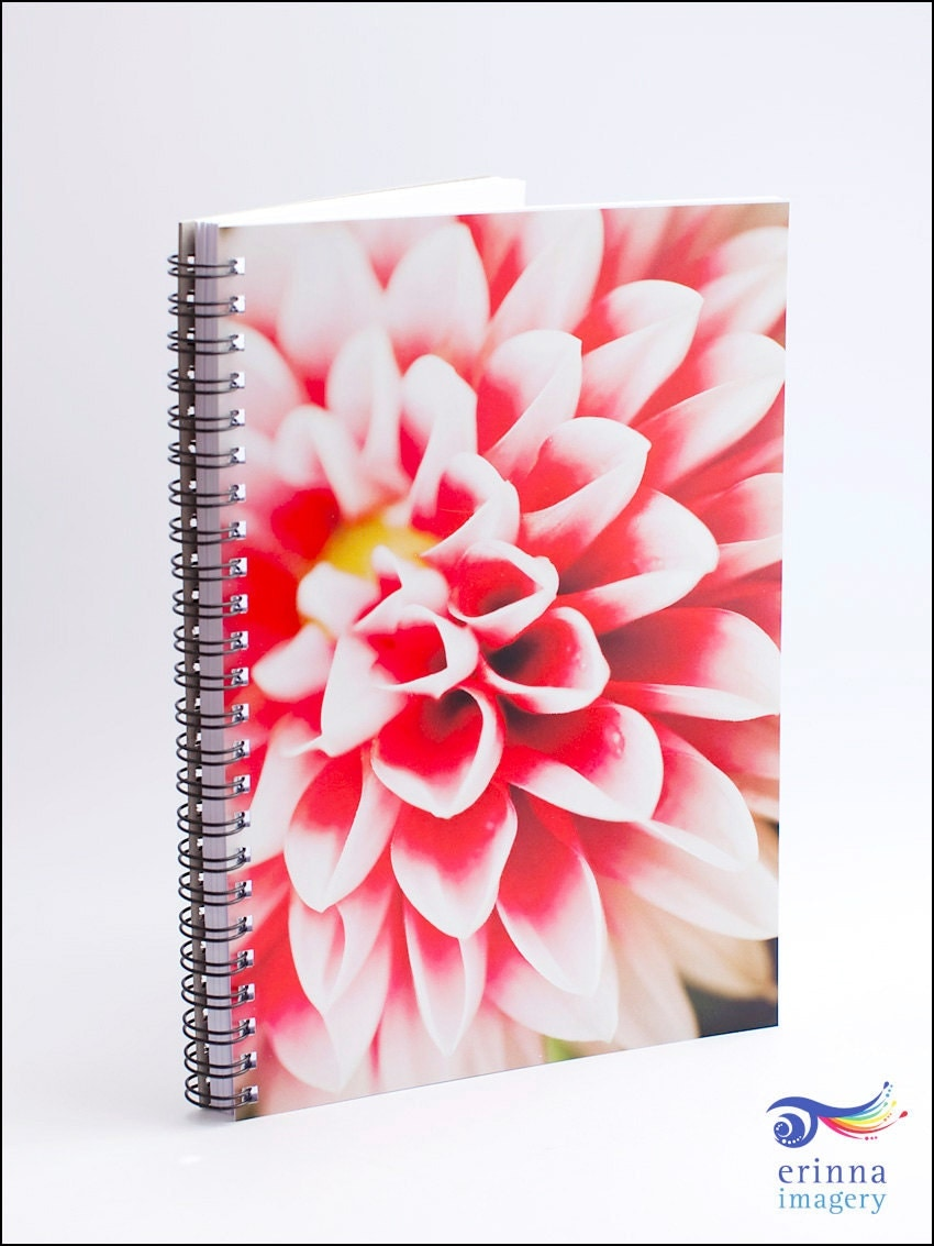 Dahlia Notebook - A5 size, 90 blank pages, pink red white petals - ErinnaImagery