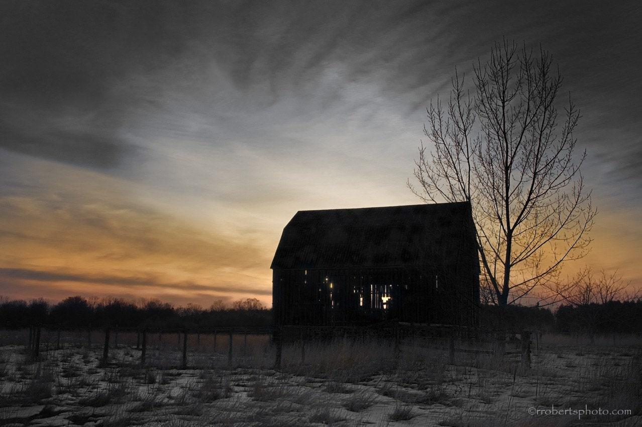 Ontario Barn Silhouette -- 5x8