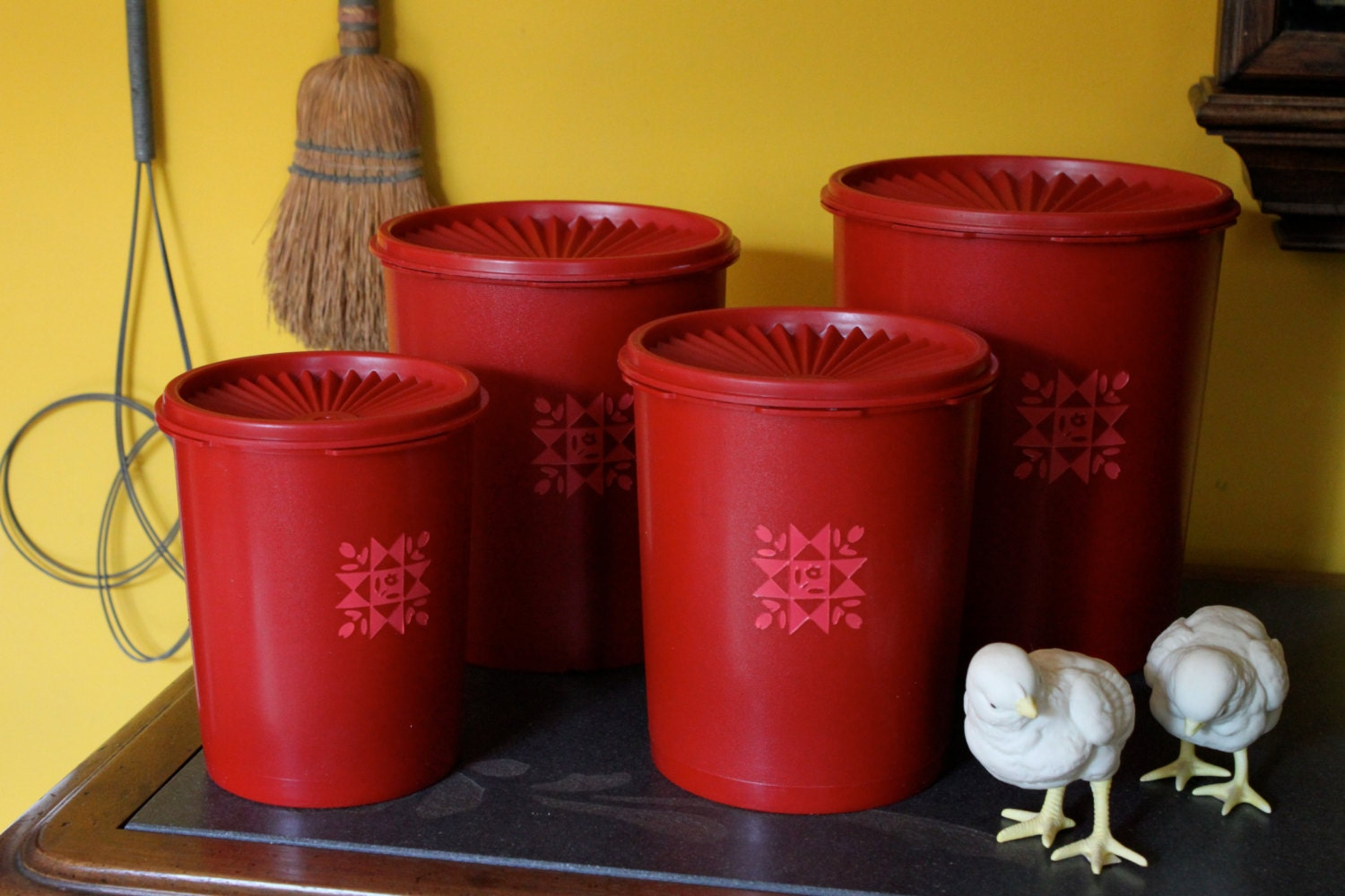 Red Tupperware Canisters / Cherry Servalier by terracognita